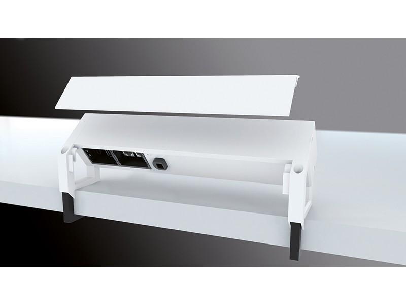 bachmann desk 2 usb charger 2x steckdose custom wei. Black Bedroom Furniture Sets. Home Design Ideas