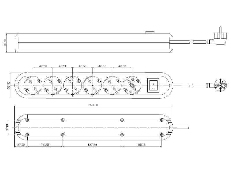 Bachmann SMART, 6x Steckdose Schalter Zuleitung 1,5m, 381.450K