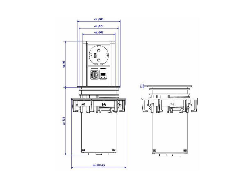 Bachmann ELEVATOR, Steckdose, CAT6 USB, 928.005